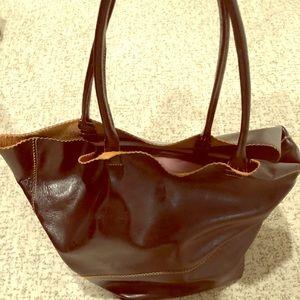 Handbags - Large brown leather over-the-shoulder bucket bag
